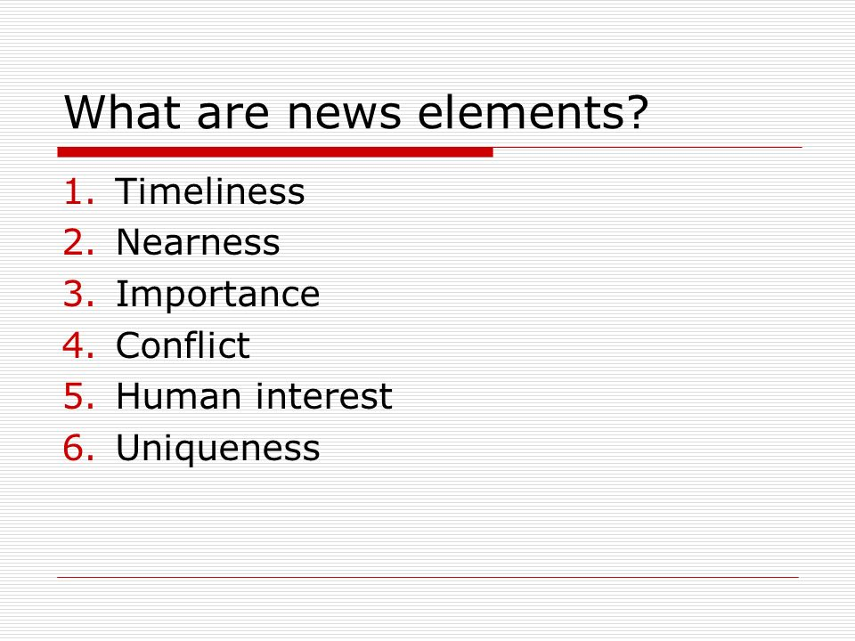 What are news elements.