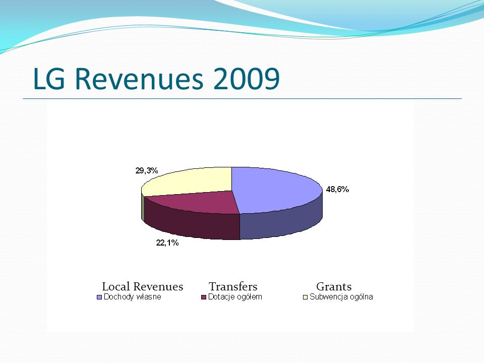 LG Revenues 2009 GrantsTransfersLocal Revenues