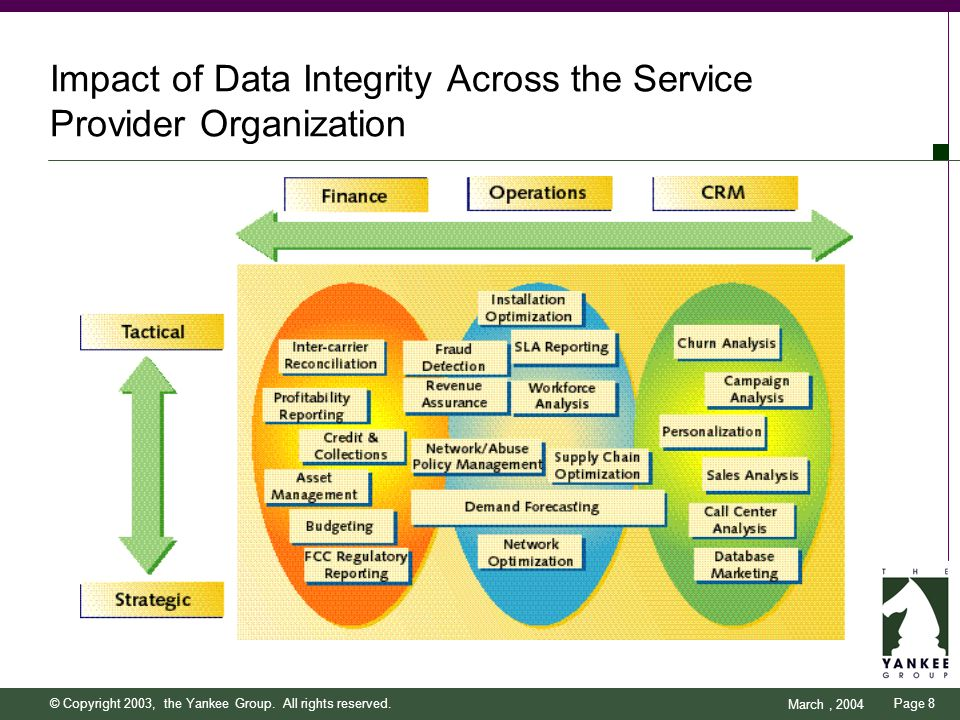 Page 8 March, 2004 © Copyright 2003, the Yankee Group. All rights reserved. Impact of Data Integrity Across the Service Provider Organization