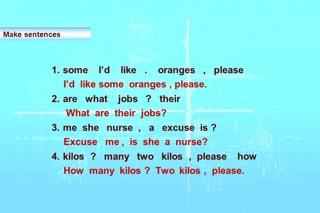 1.some Id like. oranges, please 2.are what jobs .