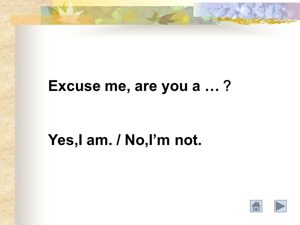 Excuse me, are you a … Yes,I am. / No,Im not.