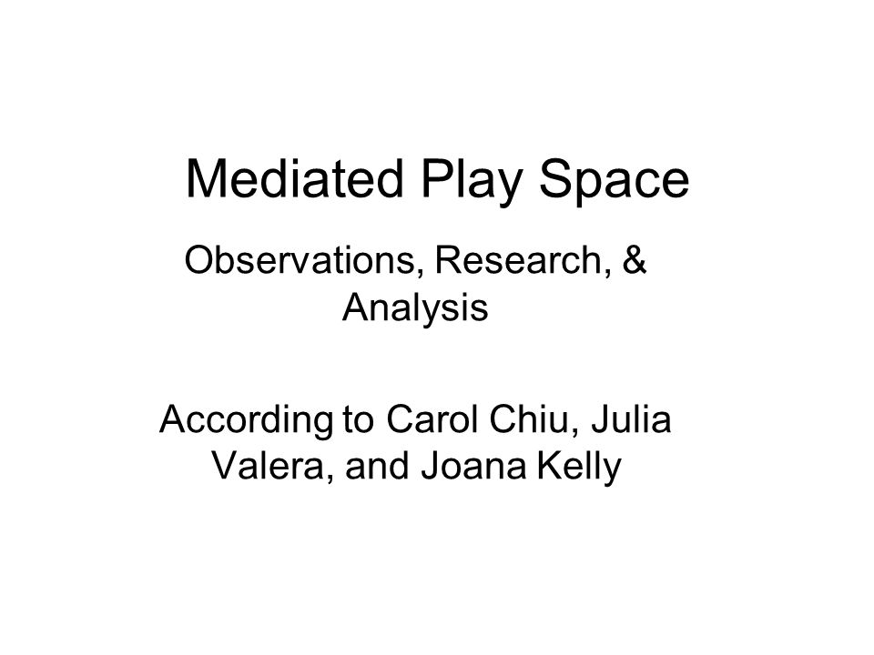 Mediated Play Space Observations, Research, & Analysis According to Carol Chiu, Julia Valera, and Joana Kelly