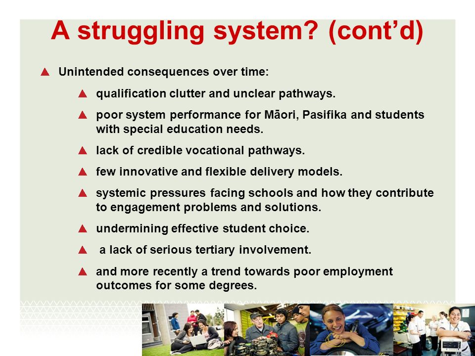 A struggling system? (contd) Unintended consequences over time: qualification clutter and unclear pathways. poor system performance for Māori, Pasifik