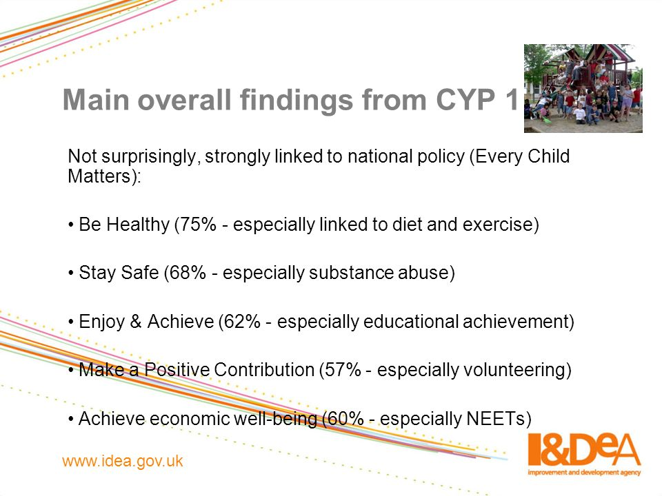 www.idea.gov.uk Main overall findings from CYP 1 Not surprisingly, strongly linked to national policy (Every Child Matters): Be Healthy (75% - especia