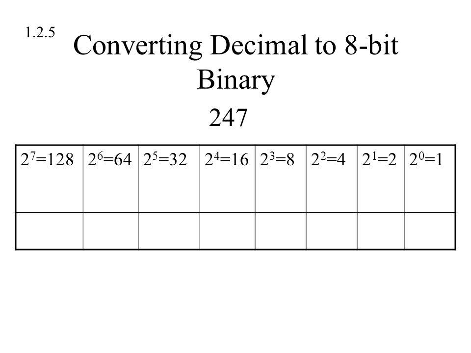 Converting Decimal to 8-bit Binary 1.2.5 2 7 =1282 6 =642 5 =322 4 =162 3 =82 2 =42 1 =22 0 =1 247