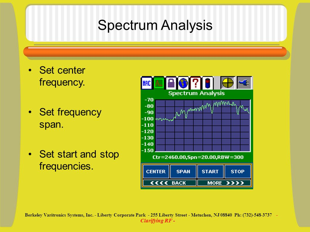 Spectrum Analysis Set center frequency. Set frequency span. Set start and stop frequencies. Berkeley Varitronics Systems, Inc. - Liberty Corporate Par