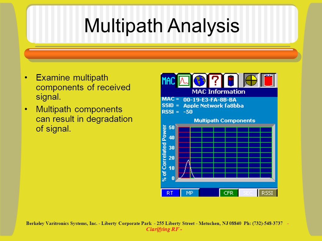 Multipath Analysis Examine multipath components of received signal. Multipath components can result in degradation of signal. Berkeley Varitronics Sys