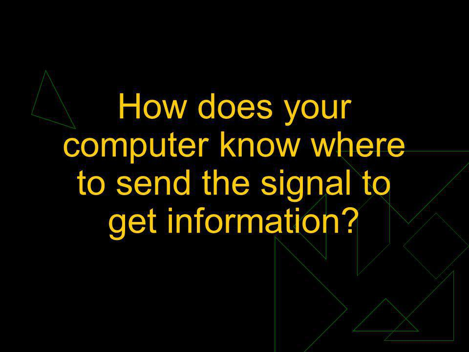 How does your computer know where to send the signal to get information?