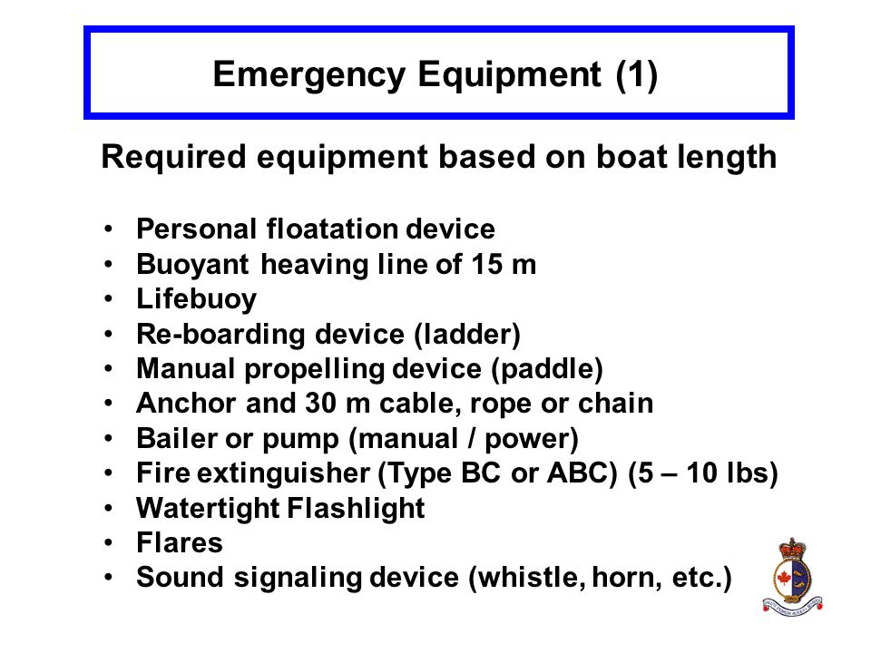 Emergency Equipment (1) Required equipment based on boat length Personal floatation device Buoyant heaving line of 15 m Lifebuoy Re-boarding device (l