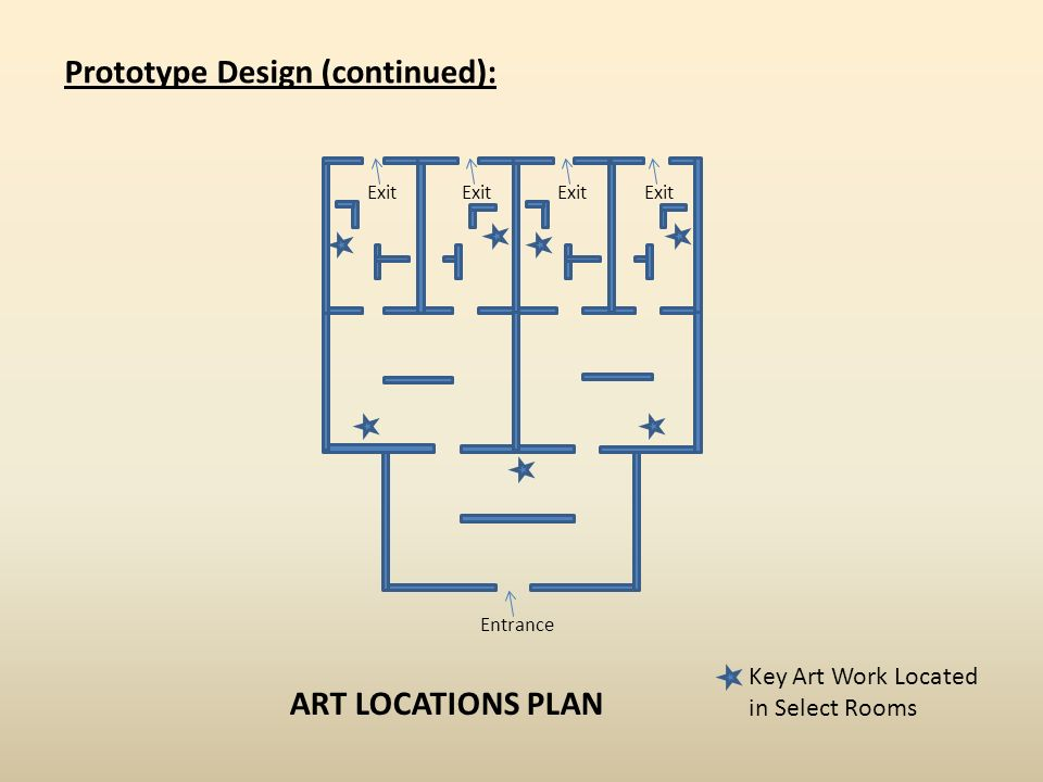Entrance Prototype Design (continued): Exit ART LOCATIONS PLAN Key Art Work Located in Select Rooms