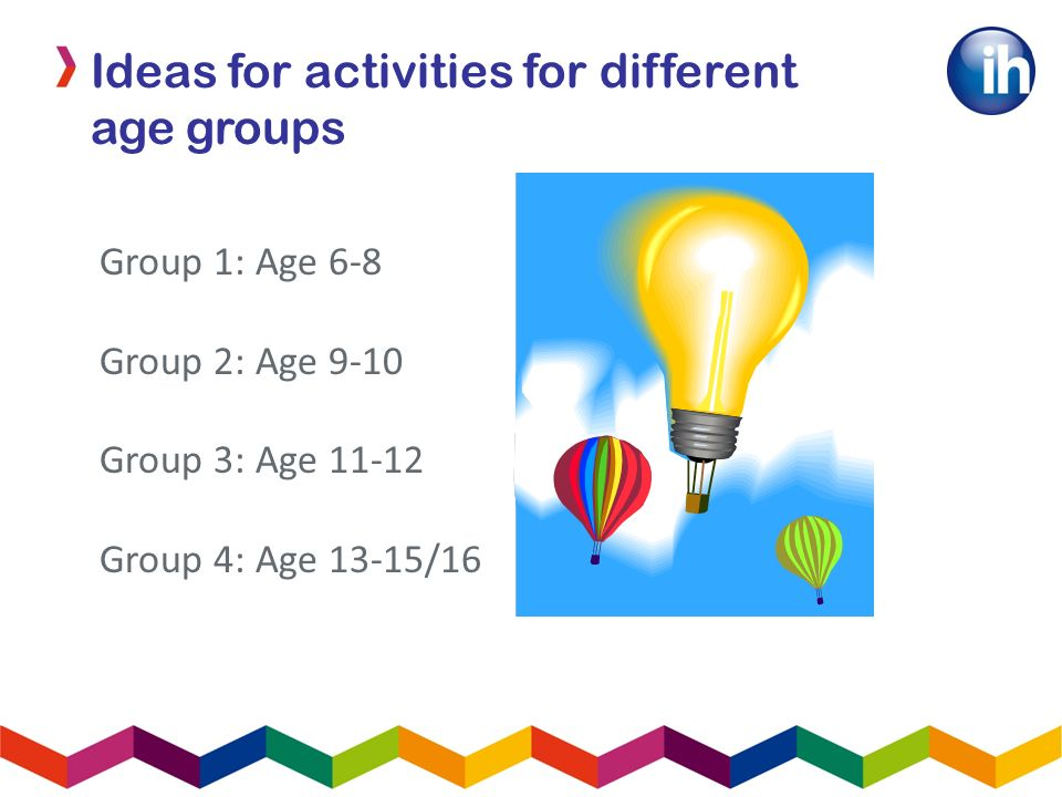 Group 1: Age 6-8 Group 2: Age 9-10 Group 3: Age 11-12 Group 4: Age 13-15/16 Ideas for activities for different age groups