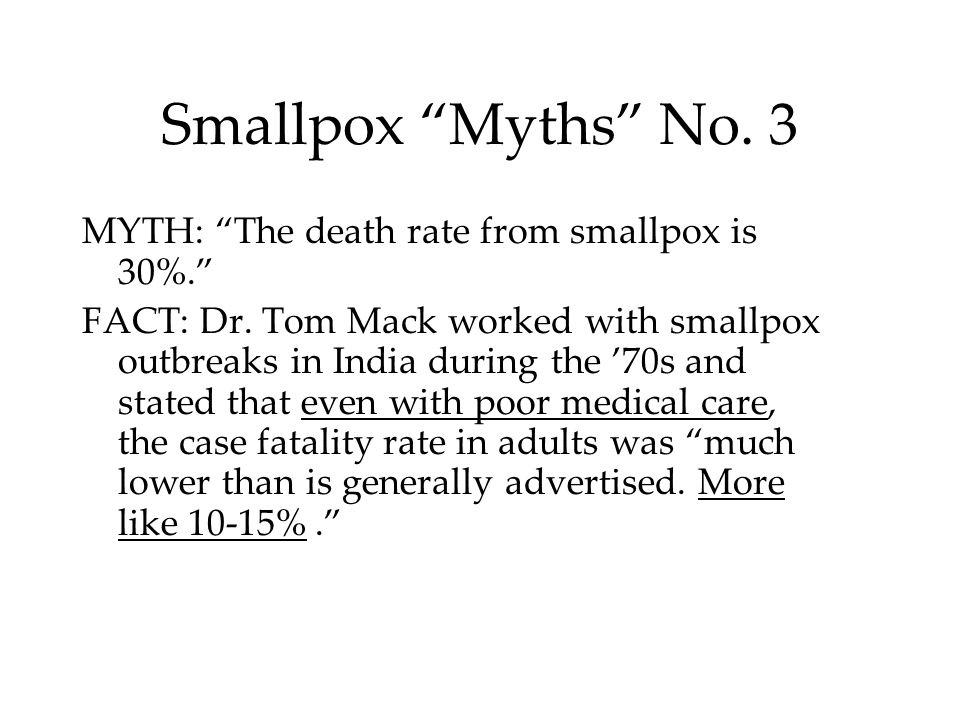 Smallpox Myths No. 3 MYTH: The death rate from smallpox is 30%.