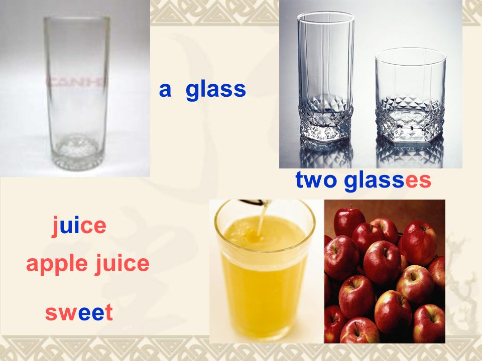 a glass two glasses juice apple juice sweet