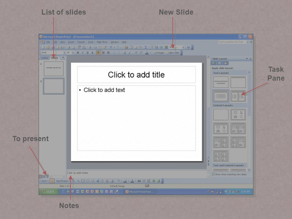 Setting backgrounds (page 1) Select Format > Background Select Fill Effects…