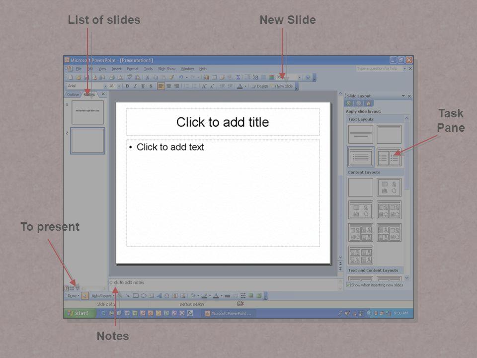 New SlideList of slides Notes To present Task Pane