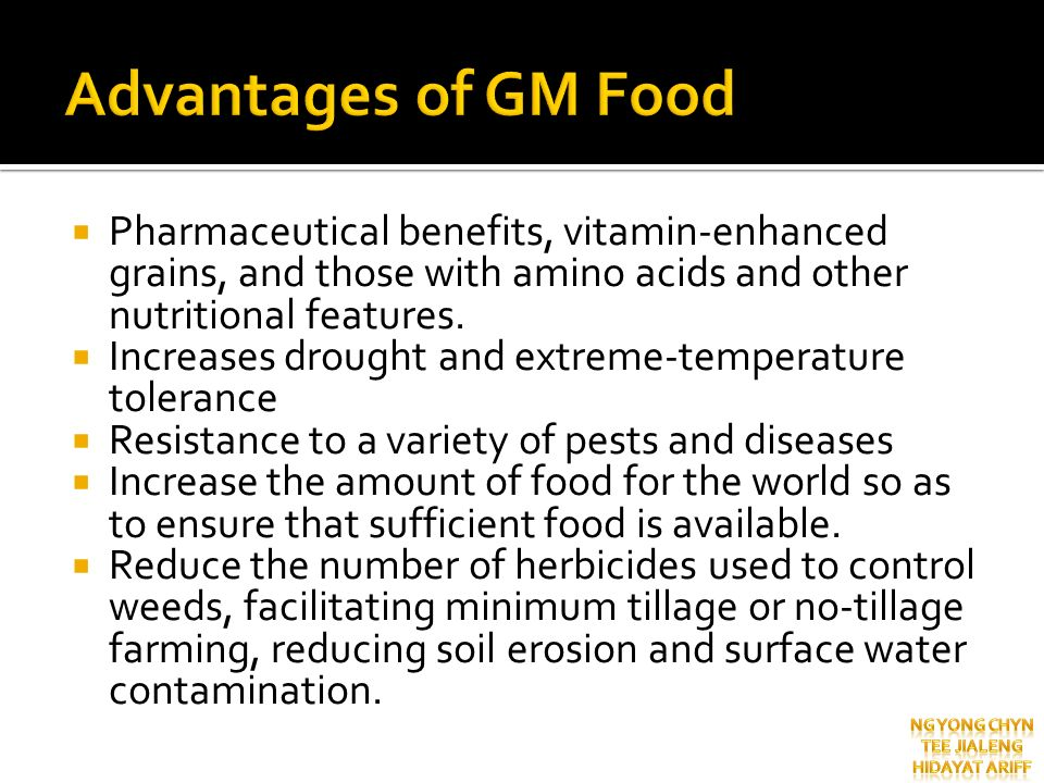 Pharmaceutical benefits, vitamin-enhanced grains, and those with amino acids and other nutritional features. Increases drought and extreme-temperature
