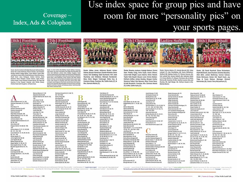 Use index space for group pics and have room for more personality pics on your sports pages. Coverage ~ Index, Ads & Colophon