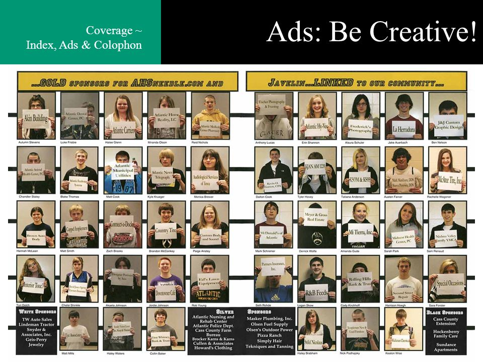 Ads: Be Creative! Coverage ~ Index, Ads & Colophon