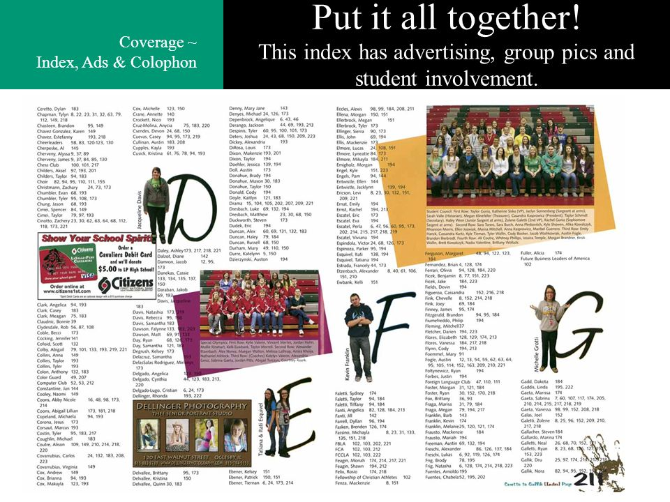 Put it all together. This index has advertising, group pics and student involvement.