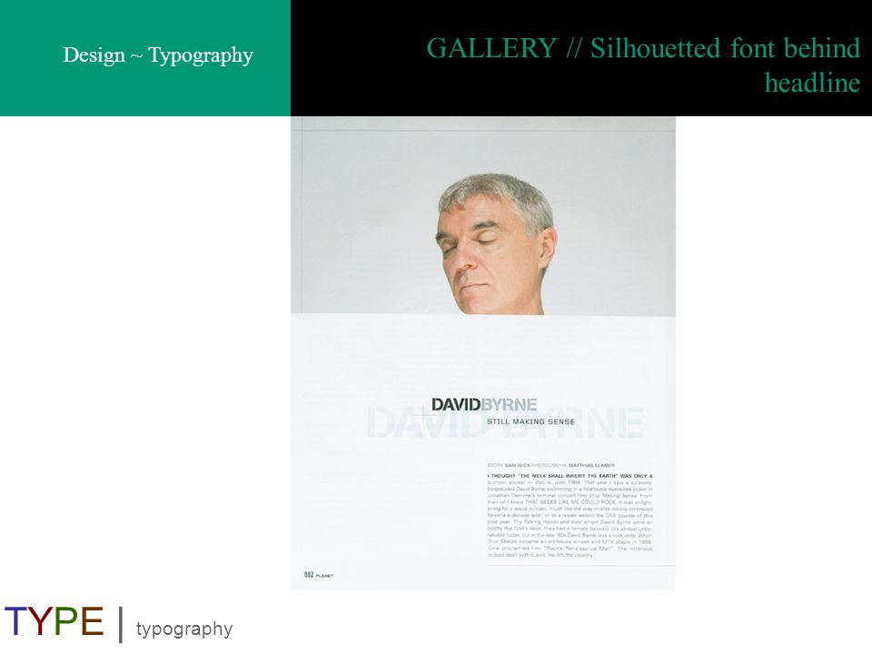 Design ~ Typography TYPE | typography GALLERY // Silhouetted font behind headline