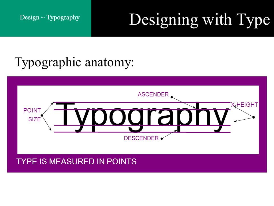 Design ~ Typography Designing with Type Typographic anatomy: TYPE IS MEASURED IN POINTS Typography POINT SIZE ASCENDER DESCENDER X-HEIGHT