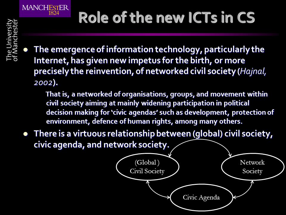 Role of the new ICTs in CS The emergence of information technology, particularly the Internet, has given new impetus for the birth, or more precisely the reinvention, of networked civil society (Hajnal, 2002).