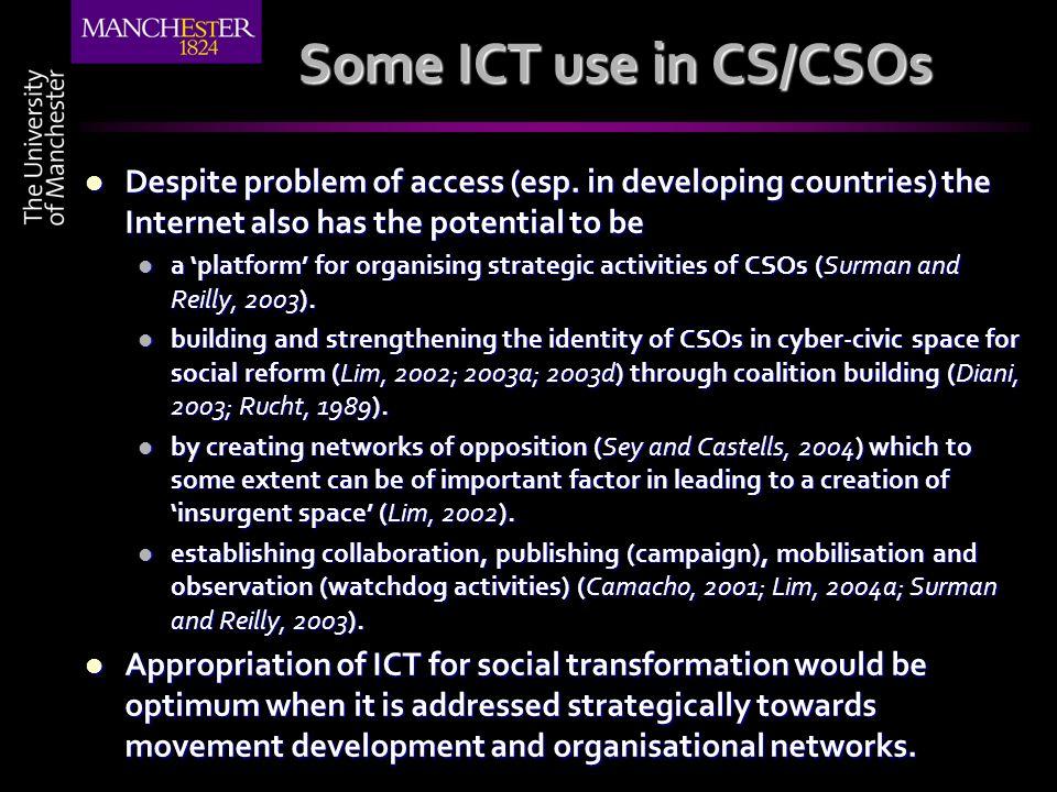 Some ICT use in CS/CSOs Despite problem of access (esp.