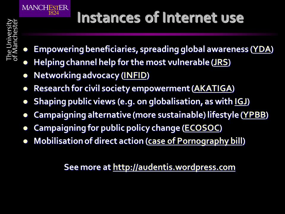 Instances of Internet use Empowering beneficiaries, spreading global awareness (YDA) Empowering beneficiaries, spreading global awareness (YDA)YDA Hel