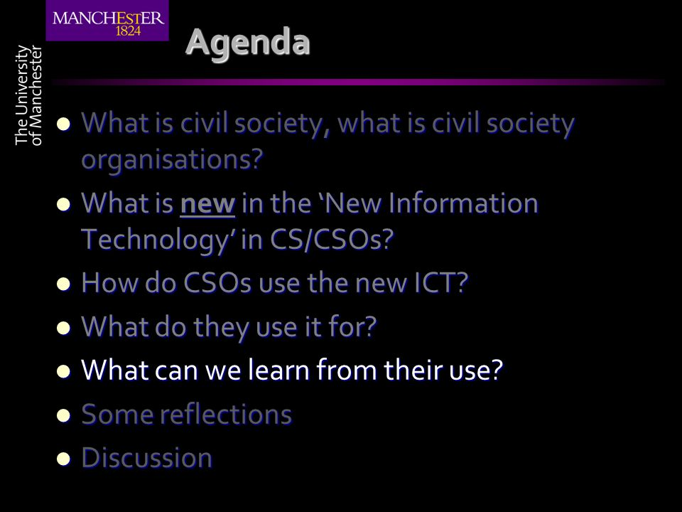 Agenda What is civil society, what is civil society organisations.