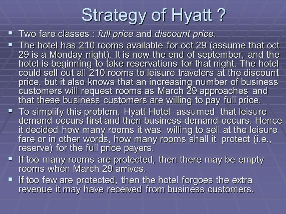 Strategy of Hyatt . Strategy of Hyatt . Two fare classes : full price and discount price.
