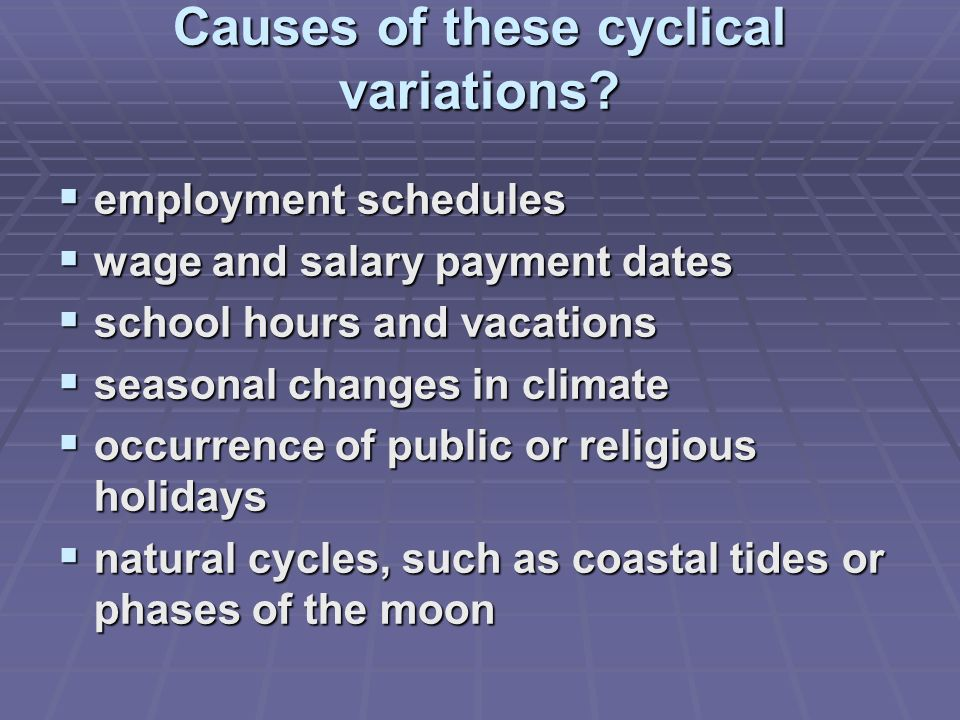 Causes of these cyclical variations.