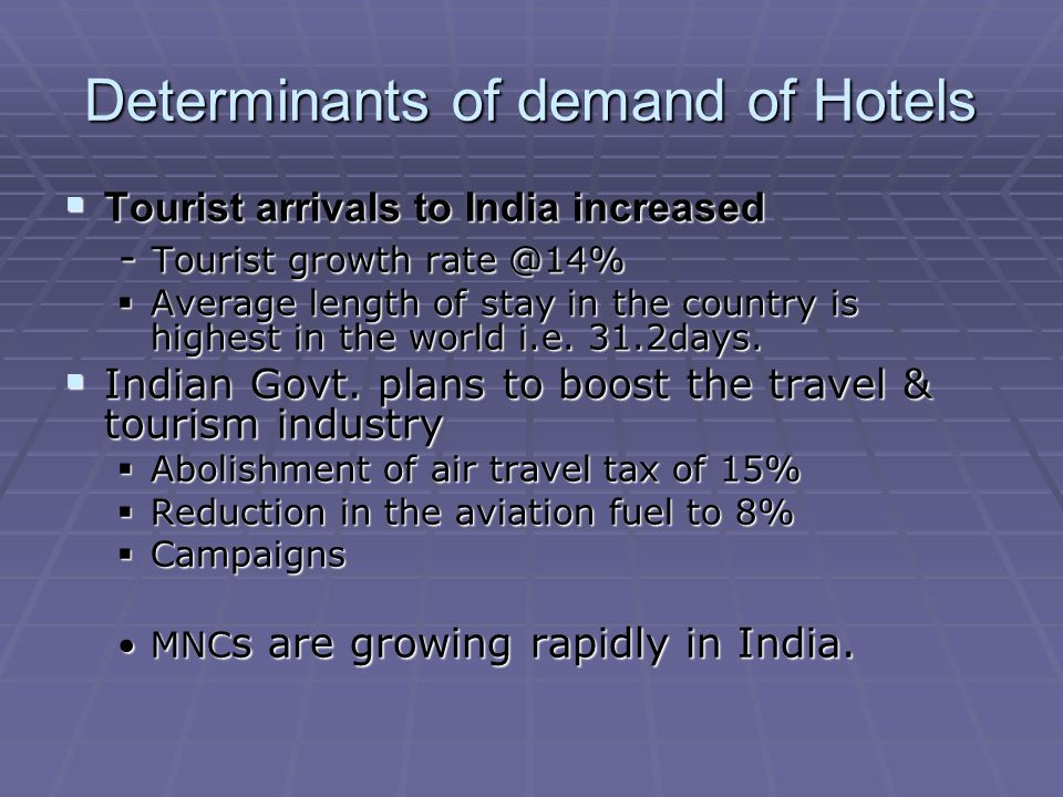 Determinants of demand of Hotels Tourist arrivals to India increased Tourist arrivals to India increased - Tourist growth rate @14% - Tourist growth rate @14% Average length of stay in the country is highest in the world i.e.