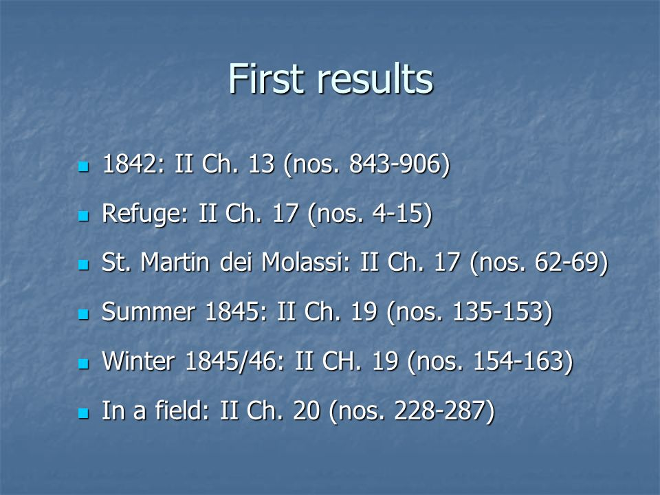First results 1842: II Ch. 13 (nos ) 1842: II Ch.