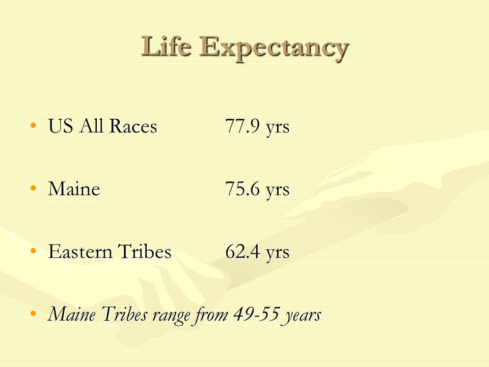 Life Expectancy US All Races 77.9 yrsUS All Races 77.9 yrs Maine75.6 yrsMaine75.6 yrs Eastern Tribes62.4 yrsEastern Tribes62.4 yrs Maine Tribes range