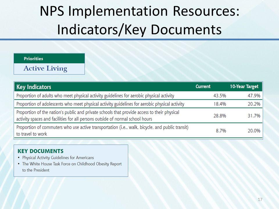 NPS Implementation Resources: Indicators/Key Documents 17