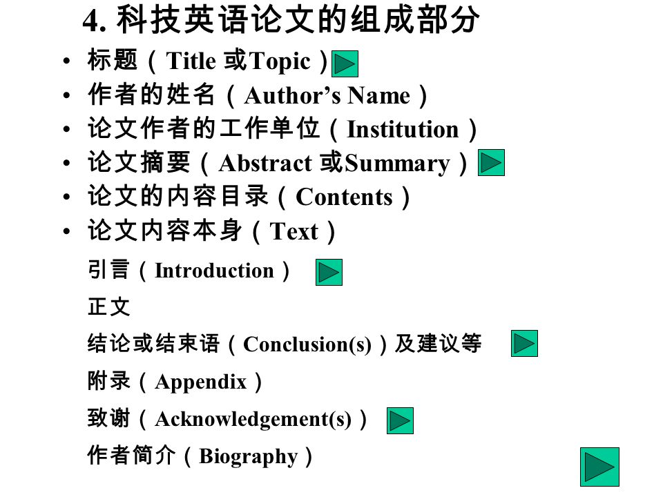 Title Topic Authors Name Institution Abstract Summary Contents Text Introduction Conclusion(s) Appendix Acknowledgement(s) Biography 4.