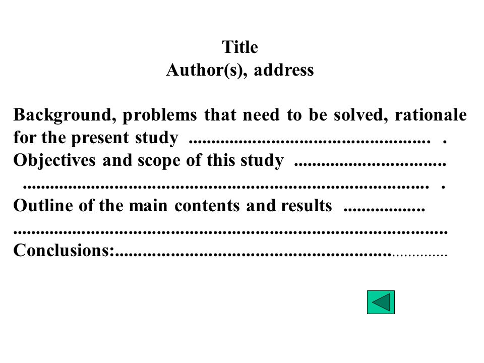 Title Author(s), address Background, problems that need to be solved, rationale for the present study.....................................................