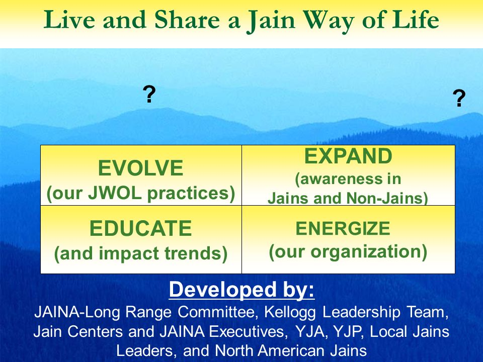 4 Live and Share a Jain Way of Life EXPAND (awareness in Jains and Non-Jains) EVOLVE (our JWOL practices) ENERGIZE (our organization) EDUCATE (and impact trends) Developed by: JAINA-Long Range Committee, Kellogg Leadership Team, Jain Centers and JAINA Executives, YJA, YJP, Local Jains Leaders, and North American Jains .