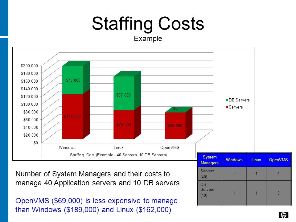 Staffing Costs Example System Managers WindowsLinuxOpenVMS Servers (40) 211 DB Servers (10) 110 Number of System Managers and their costs to manage 40