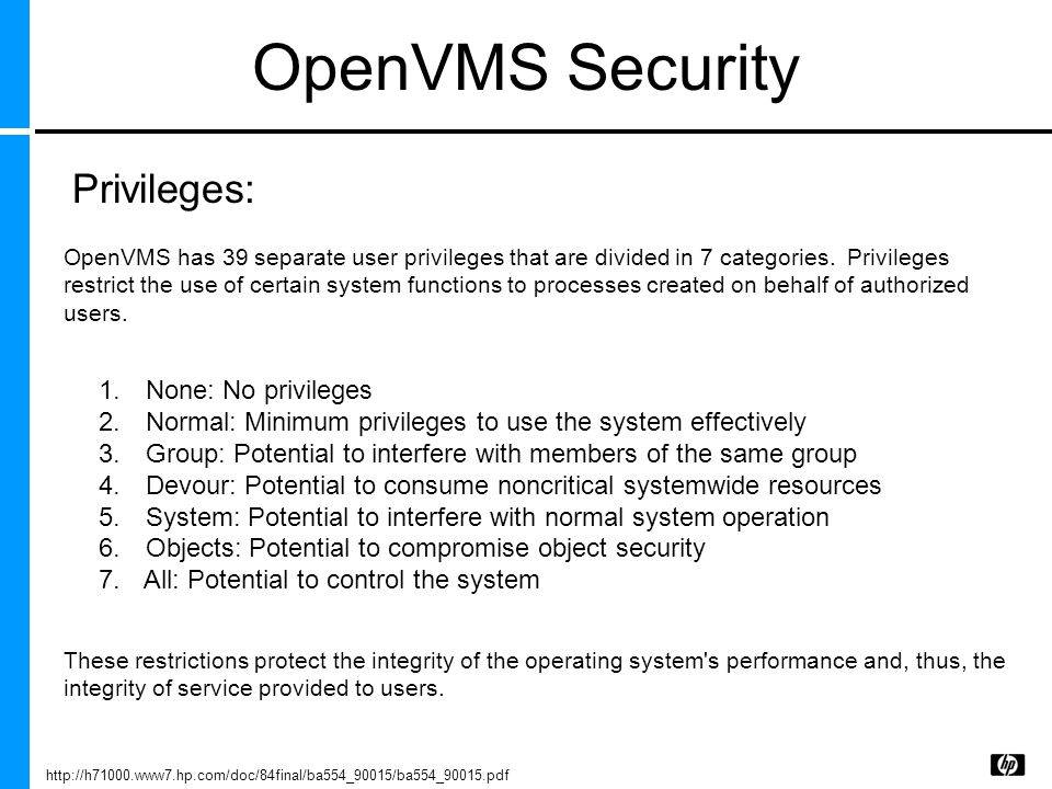 OpenVMS Security 1. None: No privileges 2. Normal: Minimum privileges to use the system effectively 3. Group: Potential to interfere with members of t