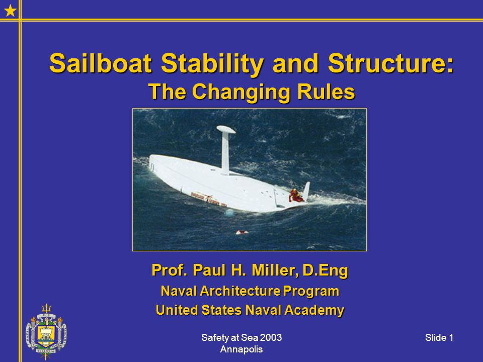 Safety at Sea 2003 Annapolis Slide 1 Sailboat Stability and Structure: The Changing Rules Prof. Paul H. Miller, D.Eng Naval Architecture Program Unite