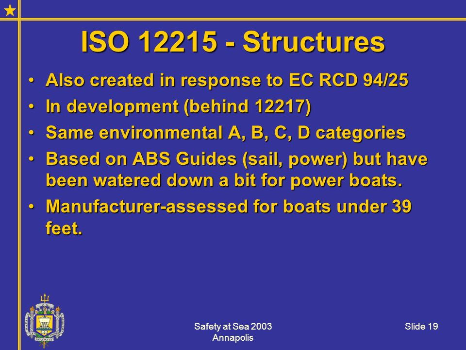 Safety at Sea 2003 Annapolis Slide 19 ISO 12215 - Structures Also created in response to EC RCD 94/25Also created in response to EC RCD 94/25 In devel