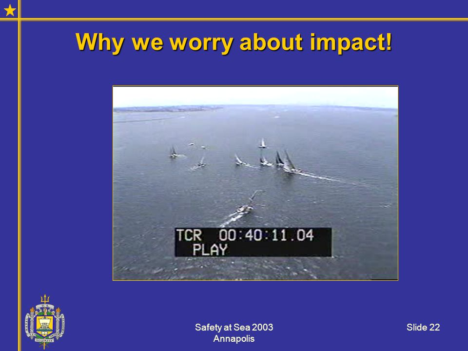 Safety at Sea 2003 Annapolis Slide 22 Why we worry about impact!