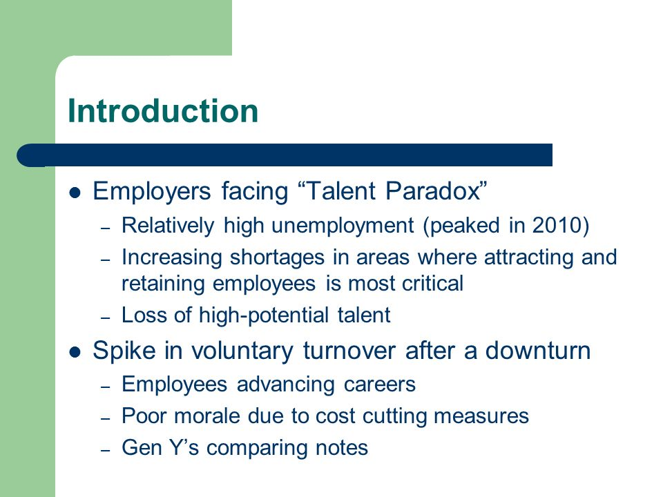 Introduction Employers facing Talent Paradox – Relatively high unemployment (peaked in 2010) – Increasing shortages in areas where attracting and reta