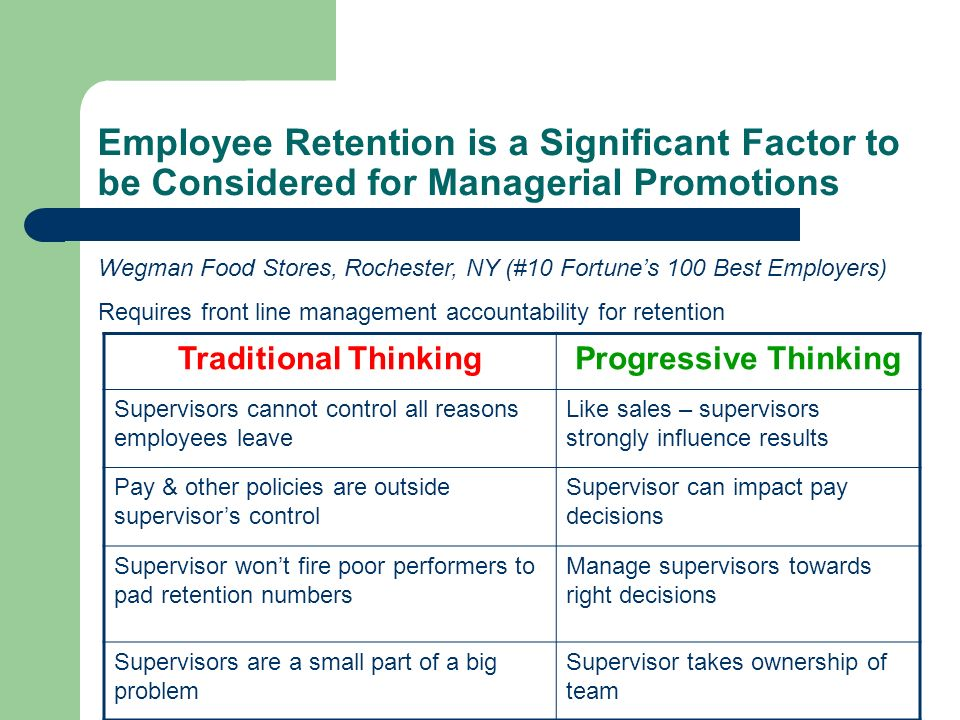 Employee Retention is a Significant Factor to be Considered for Managerial Promotions Traditional ThinkingProgressive Thinking Supervisors cannot cont