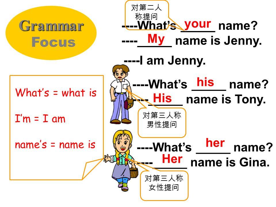 Tony: Hello. Whats ______ name? Jenny: My _________ Jenny. Tony: _____ Tony. Jenny: Nice to meet you, Tony. Complete the conversations with the words