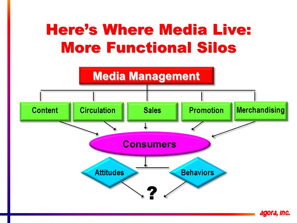 Heres Where Media Live: More Functional Silos Media Management Promotion Merchandising Sales Circulation Content Consumers Attitudes Behaviors ?