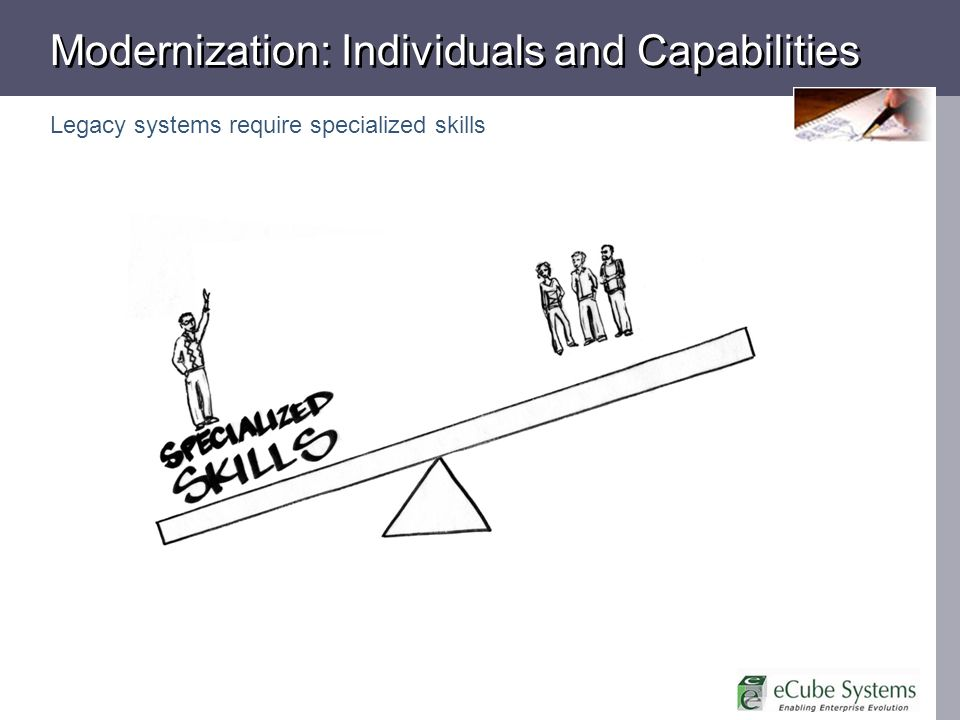 Modernization: Individuals and Capabilities Legacy systems require specialized skills