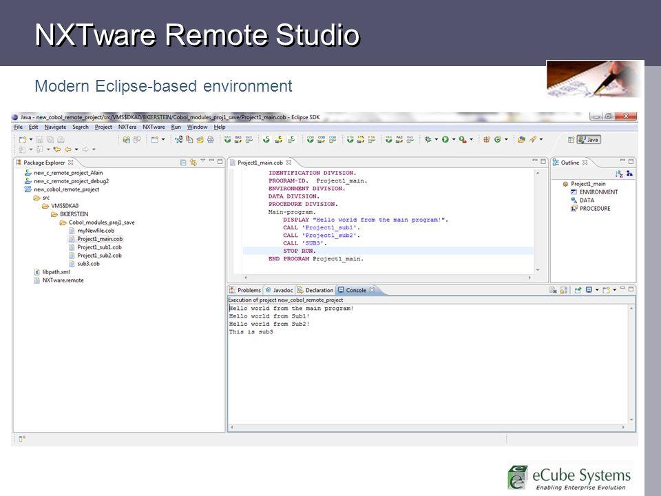 NXTware Remote Studio Modern Eclipse-based environment