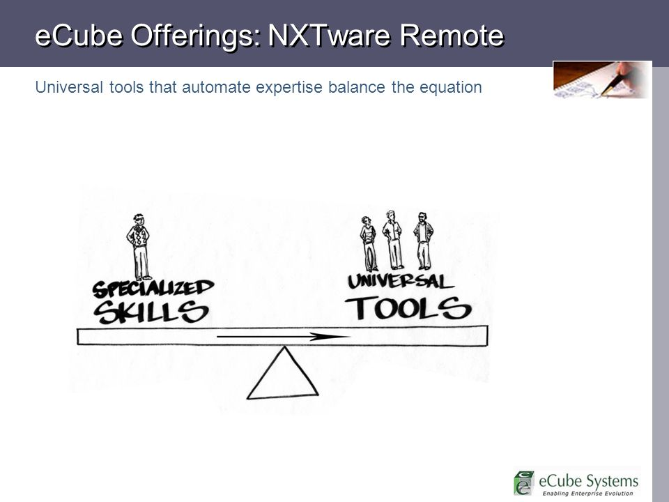 eCube Offerings: NXTware Remote Universal tools that automate expertise balance the equation